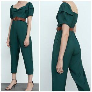 NEW Zara Puff Sleeve Belted Jade Green Jumpsuit
